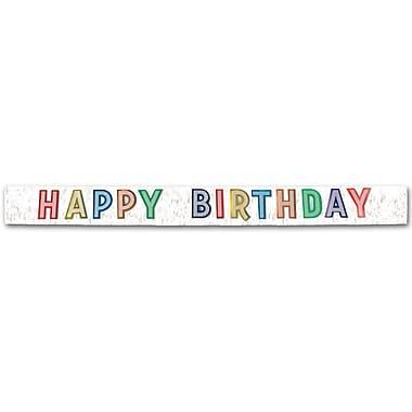 Bannière métallique multicolore « Happy Birthday », 10 po x 9 pi, 1/paquet
