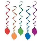 "Multi-Colour Whirls With Balloon Icon, 3' 3"", 15/Pack"