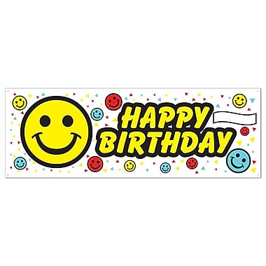 Birthday Smile Face Sign Banner, 5' x 21