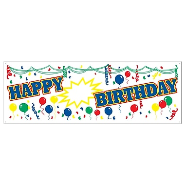 Personalized Happy Birthday Sign Banner, 5' x 21