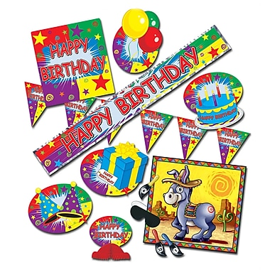 Happy Birthday Party Kit With Donkey Game, Assorted Decorations