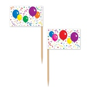 "Balloons & Confetti Picks, 2-1/2"", 300/Pack"