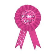"Biestle 3 3/4"" x 6 1/2"" Birthday Girl! Award Ribbon, 3/Pack"
