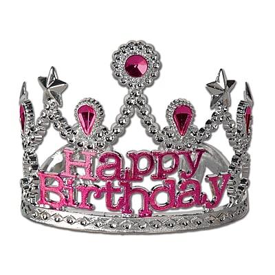 Beistle Plastic Happy Birthday Tiara, Silver, 4/Pack