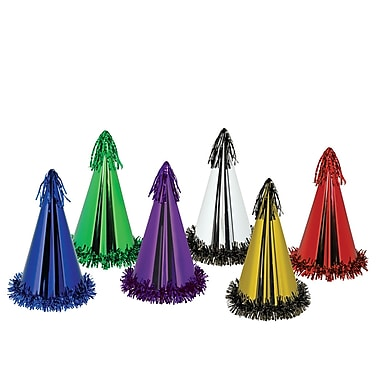 Fringed Foil Party Hats, 12-1/2