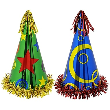 Fringed Printed Foil Party Hats, 12-1/2