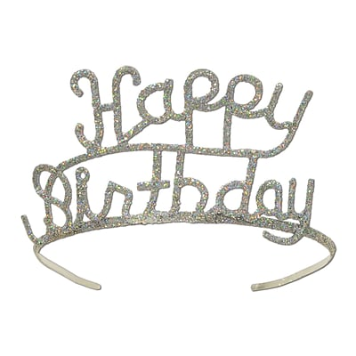 Beistle Glittered Metal Happy Birthday Tiara, Silver