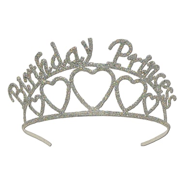 Beistle Glittered Metal Birthday Princess Tiara, Silver