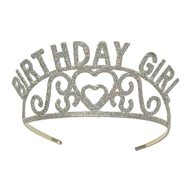 Tiare en métal scintillante « Birthday Girl », 1/paquet
