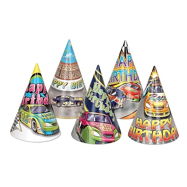 Race Car Birthday Hats, 6-1/2