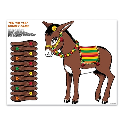"""""""""""Beistle 17 1/2"""""""""""""""" x 19 1/2"""""""""""""""" Cardstock Donkey Game, 7/Pack"""""""""""" 1070244"""
