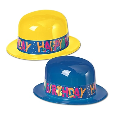 Plastic Derbies With Happy Birthday Band, 7/Pack