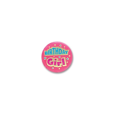 """""Beistle 2"""""""" Birthday Girl Satin Button, Pink, 6/Pack"""""" 1073004"