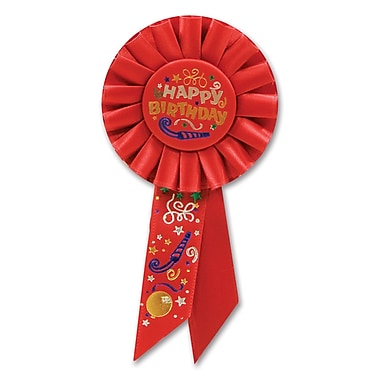 Rosette « Happy Birthday », 3 1/4 x 6 1/2 po, 3/paquet