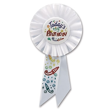 Rosette « Today's My Birthday », 3 1/4 x 6 1/2 po, 3/paquet