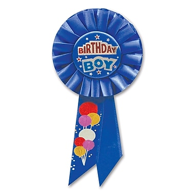 Rosette « Birthday Boy », 3 1/4 x 6 1/2 po, 3/paquet