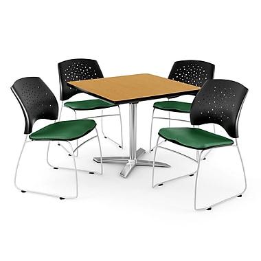 OFM – Table carrée rabattable de 36 po en chêne avec 4 chaises, vert forêt (845123043615)