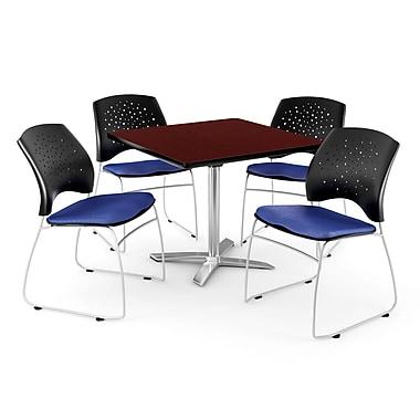 OFM – Table carrée rabattable de 42 po acajou avec 4 chaises bleu royal (845123044049)