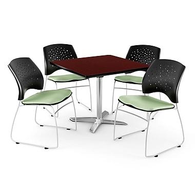 OFM – Table carrée de 42 po au fini acajou avec dessus rabattable et 4 chaises vert sauge (845123044018)