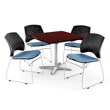 OFM – Table carrée rabattable de 42 po acajou avec 4 chaises bleu barbeau (845123044001)