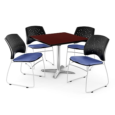 OFM – Table carrée rabattable de 36 po en acajou avec 4 chaises, bleu colonial (845123043349)