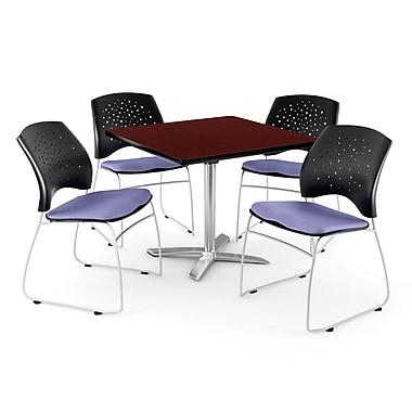 OFM – Table carrée rabattable de 36 po en acajou avec 4 chaises, lavande (845123043325)