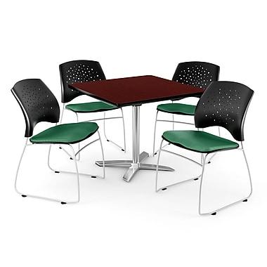 OFM – Table carrée rabattable de 42 po au fini acajou avec 4 chaises vert trèfle (845123043950)