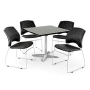 """OFM 36"""" Square Flip-Top Gray Nebula Table With 4 Chairs, Colonial Blue"""