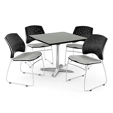 OFM – Table carrée de 36 po au fini gris nébuleux avec dessus rabattable et 4 chaises, mastic (845123043288)