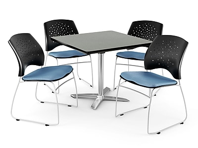 "OFM 42"" Square Flip-Top Gray Nebula Table With 4 Chairs, Cornflower Blue"