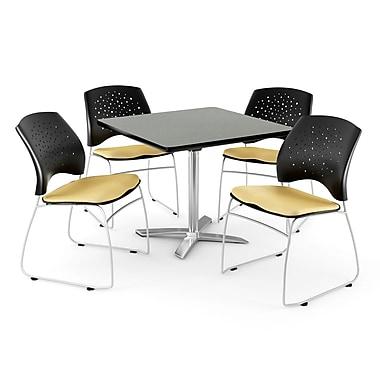 OFM – Table rabattable carrée gris nébuleux de 36 po, avec 4 chaises, lin doré (845123043196)