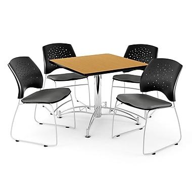 OFM – Table carrée et polyvalente de 36 po au fini chêne avec 4 chaises grises (845123042946)