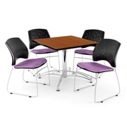 """OFM 42"""" Square Multi-Purpose Cherry Table With 4 Chairs, Plum"""