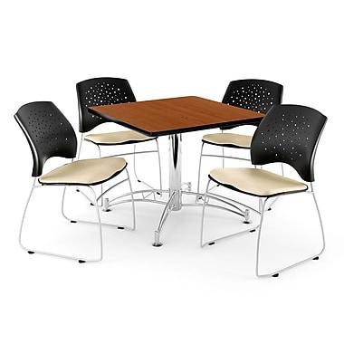 OFM – Table carrée multi-usage en cerisier, 36 po, 4 chaises kaki (845123042434)
