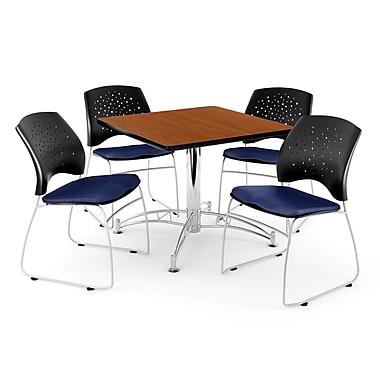 OFM – Table carrée multi-usage en cerisier, 42 po, 4 chaises bleu marine (845123035221)
