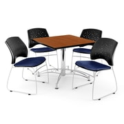 "OFM 42"" Square Multi-Purpose Cherry Table With 4 Chairs, Navy"
