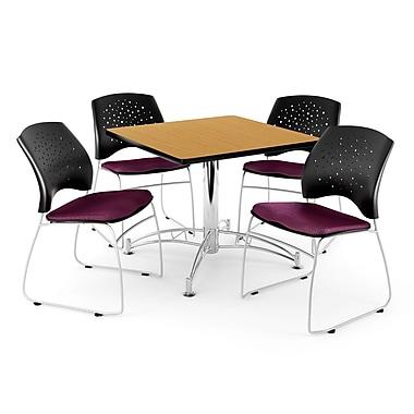 OFM – Table carrée et polyvalente de 36 po au fini chêne avec 4 chaises, bourgogne (845123042939)