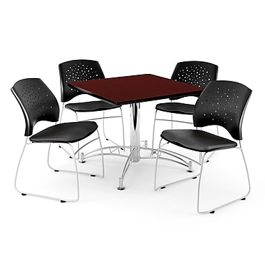 OFM – Table carrée et polyvalente de 42 po au fini acajou avec 4 chaises, noir (845123035320)
