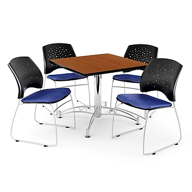 OFM – Table carrée multi-usage en cerisier, 36 po, 4 chaises bleu royal (845123042441)