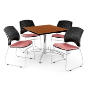 "OFM 42"" Square Multi-Purpose Cherry Table With 4 Chairs, Coral Pink"
