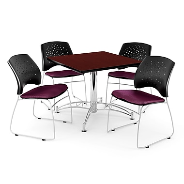 OFM – Table carrée multi-usage en acajou, 36 po, 4 chaises bourgogne (845123042779)