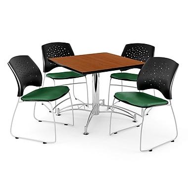 OFM – Table carrée polyvalente de 36 po au fini cerisier avec 4 chaises, vert forêt (845123042496)