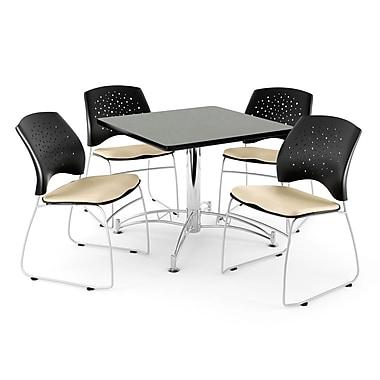 OFM – Table carrée et polyvalente de 42 po au fini gris nébuleux avec 4 chaises kaki (845123044469)