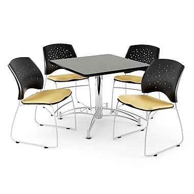 OFM – Table multi-usage carrée de 42 po avec 4 chaises, gris nébuleux et lin doré (845123044421)