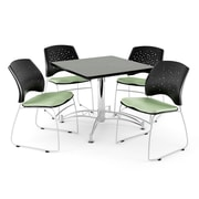 """OFM 42"""" Square Multi-Purpose Gray Nebula Table With 4 Chairs, Sage Green"""