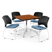 "OFM 42"" Square Multi-Purpose Cherry Table With 4 Chairs, Cornflower Blue"