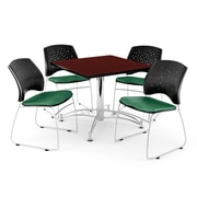 """OFM 42"""" Square Multi-Purpose Mahogany Table With 4 Chairs, Shamrock Green"""