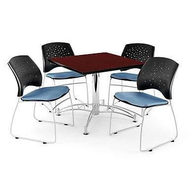 OFM – Table carrée et polyvalente de 36 po au fini acajou avec 4 chaises bleu barbeau (845123042724)