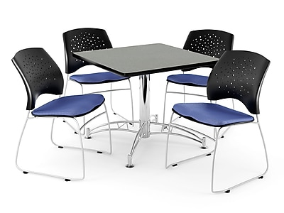 """OFM 36"""" Square Multi-Purpose Gray Nebula Table With 4 Chairs, Colonial Blue"""