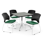 """OFM 42"""" Square Multi-Purpose Gray Nebula Table With 4 Chairs, Shamrock Green"""